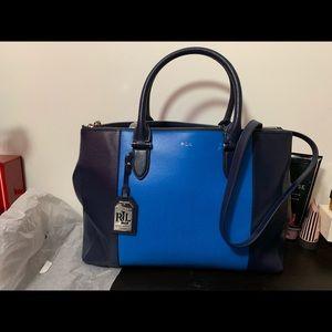 Blue double zipped Newburgh Ralph Lauren handbag